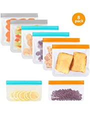Reusable Snacks & Sandwich Bags, SimpleZone FDA Grade Leakproof Ziploc Food Storage Bag, BPA Free Extra Thick PEVA Material Bags for Lunch, Fruit, Make-up, Kitchen Organization