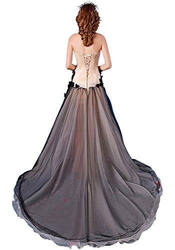 Linie Sweep Schwarz Brautkleider Tailing Emily A trägerlose handgemachte Beauty TaqwFUE