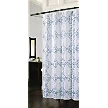 Richloom Medallion Embroidered Fabric Shower Curtain In Shades Of Blue On Crisp White By Home Fashions