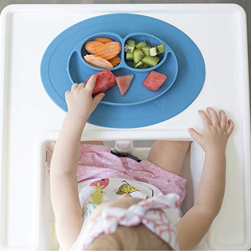 415ijU1OlNL - Ezpz Mini Mat (Blue) - 100% Silicone Suction Plate With Built-in Placemat For Infants + Toddlers - First Foods + Self-Feeding - Comes With A Reusable Travel Bag