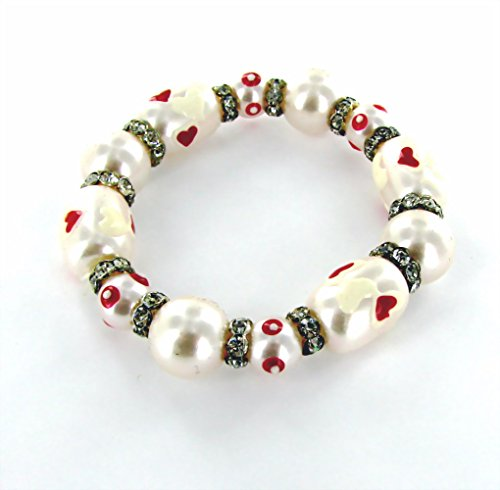 Linpeng IUP-63 Heart Beads Stretch Bracelet Women Bracelet, Pearl