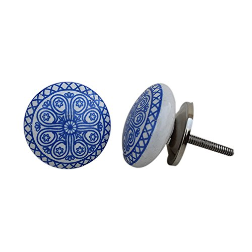 Bronze Ceramic Knobs (Set of 12 Ceramic Blue Wheel Flat Drawer Pulls and Knobs Handmade Designer Silver)