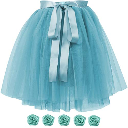 Women's Solid A Line High Waist Princess Tulle Skirt Grils's Tutu Skirt Dance Tutu Flowers for DIY Mint Green -