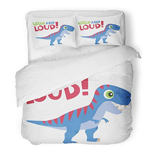 Lizard Twin Little Bed (Emvency Bedding Duvet Cover Set Twin (1 Duvet Cover + 1 Pillowcase) Green Adorable Little and Loud Text with Cute Tyrannosaurus Rex Baby Dinosaur White Hotel Quality Wrinkle and Stain Resistant)