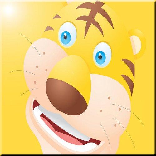 8 x 8 Rikki Knight Tiger Cartoon Face Design Ceramic Art Tile