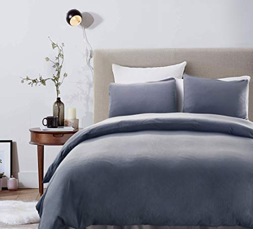 VACA KEY Duvet Cover Set,2Pcs Modern Luxury Bedding Set 100% Soft Microfiber Comforter Cover Set Solid Dark Grey Color 1 Duvet Cover,1 Pillowcase (Twin(90 x 68Inches), Dark Grey)