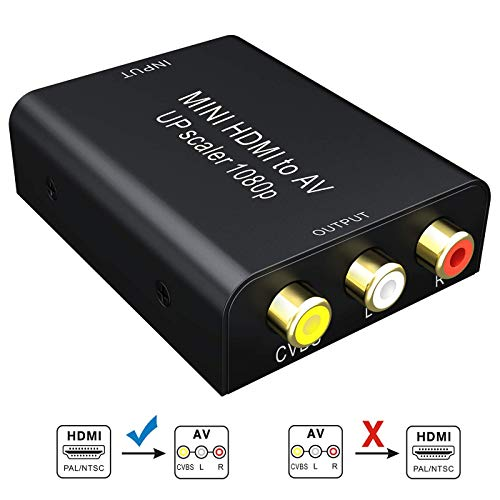 HDMI to RCA- HDMI to AV, GANA 1080P HDMI to AV 3RCA CVBs Composite Video Audio Converter Adapter Supporting PAL/NTSC with USB Charge ()