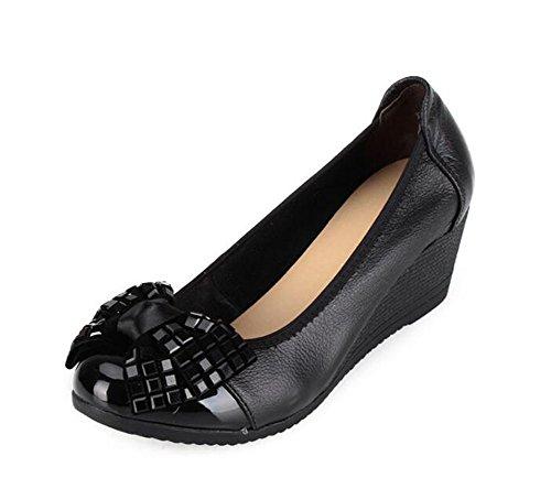 CHFSO Women's Stylish Wedges Rhinestone Bow Round Toe Slip On Low Top Mid Heel Pumps Shoes Black 7 B(M) US