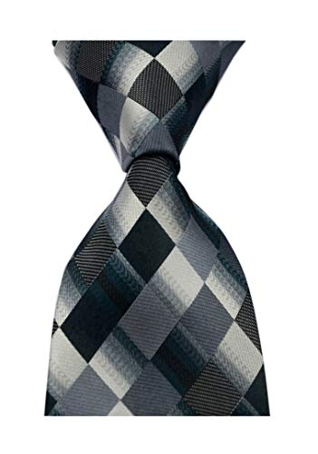 Secdtie Men's Classic Checks Purple Grey Jacquard Woven Silk Tie Necktie Black Grey Checkered Silk Necktie Tie