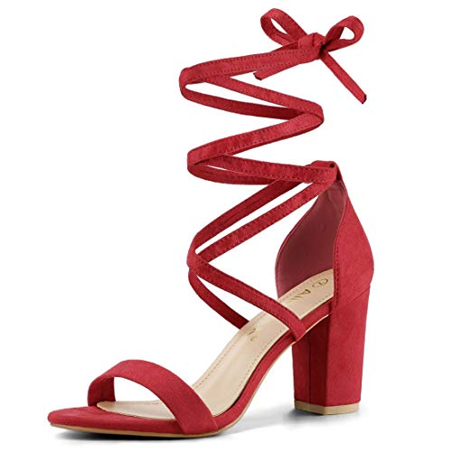 Allegra K Women's One Strap Block Heel Lace Up Red Sandals - 6.5 M US (Red One Strap Heels)