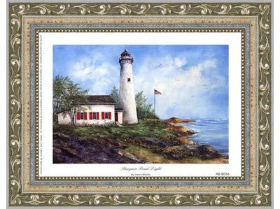 (Poster Palooza Framed Sturgeon Point Light- 8x6 Inches - Art Print (Ornate Silver Frame))