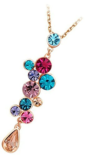 Epinki, Plaqu¨¦ Or Femme Collier Coloful Zircone Cubique Drop Forme Pendentif Or Rose