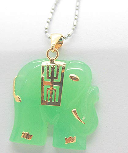 (Natural Light Green Jade Yellow Gold Plated Elephant Pendant and Necklace)