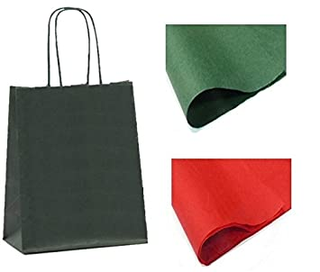 X 10 GREEN GIFT BAGS WITH TISSUE PAPER