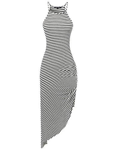Racerback Asymmetrical Striped Long Dress White Charcoal Size S