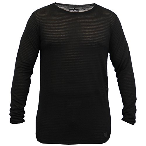 Herren Lange Linie Pulli Soul Star Pullover Hoher Niedriger Saum Gestricktes Top Pullover Winter - Schwarz - FAHRENPKB, Large