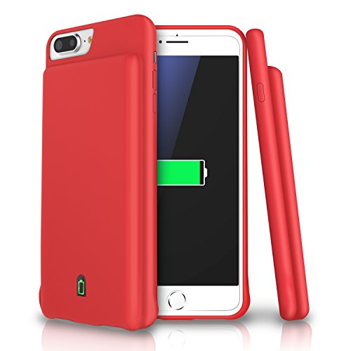 iPhone 8 Plus / 7 Plus / 6s Plus / 6 Plus Battery Case, LoHi 7000mAh Capacity Support Headphones Ultra Slim Extended Battery Rechargeable Protective Portable Charger 5.5 Inch Red