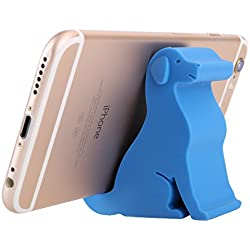 """Plinrise Mini Puppy Dog Shape Cute Cell Phone Mounts Candy Color Creative Ipad Set Material of Silica Ge, Size:2.4"""" X 2.6"""" X 1.1"""", for Iphone Ipad Samsung Phone Tablet Plate Pc (Small Blue)"""