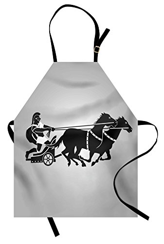 Ambesonne Toga Party Apron, Mythological Chariot Gladiator with Horse Traditional Greek Culture Image, Unisex Kitchen Bib Apron with Adjustable Neck for Cooking Baking Gardening, Dimgrey (Greek Themed Party Costumes)