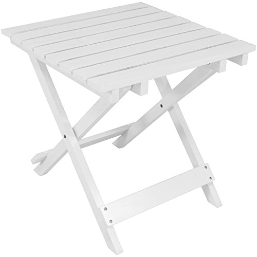 Sunnydaze Wood Adirondack Folding Patio Side Table, White by Sunnydaze Decor
