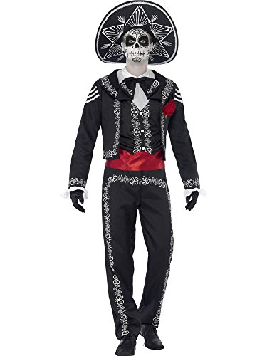 Days Of The Dead Costumes (Smiffy's Men's Day of The Dead Señor Bones Costume, Jacket, pants, Mock Shirt and Hat, Day of The Dead, Halloween, Size L, 43738)