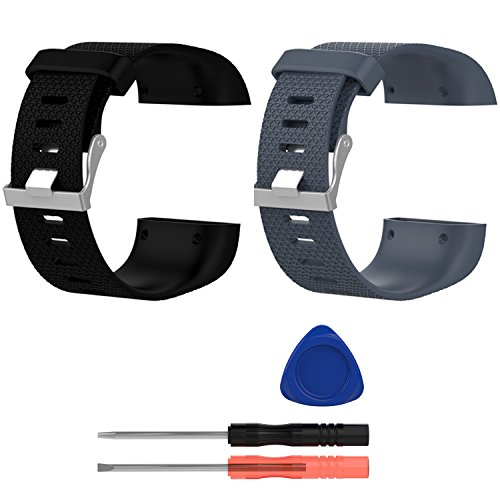 E ECSEM Replacement Bands for Fitbit Surge, Large, Silicone Wristbands/straps for Fitbit Surge Fitness Superwatch, 2pcs: D by E ECSEM