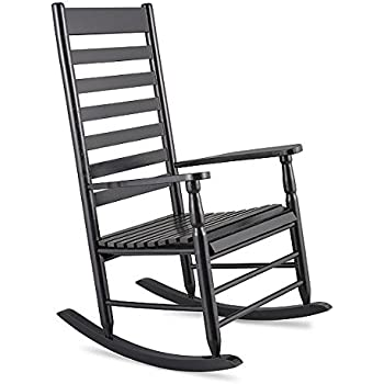 Black Traditional Classic Porch Rocker Rocking Chair Outdoor Patio Garden  Furniture