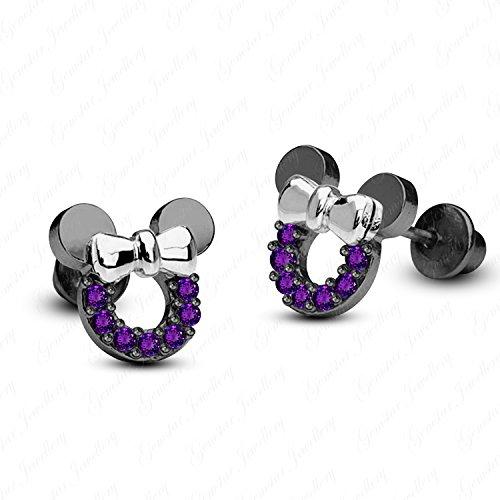 Gemstar Jewellery 18K Black & White Gold Plating Round Shape Amethyst Minnie Mouse Disney Earrings