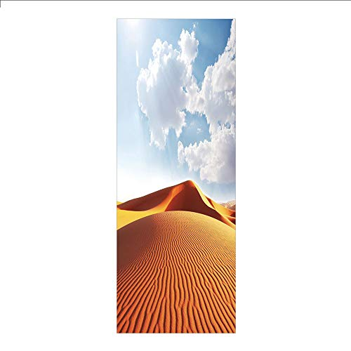 3D Decorative Film Privacy Window Film No Glue,Desert,Idyllic Landscape with Dunes Sunny Sky Clouds Tranquility Solitude,Orange Yellow Light Blue,for Home&Office