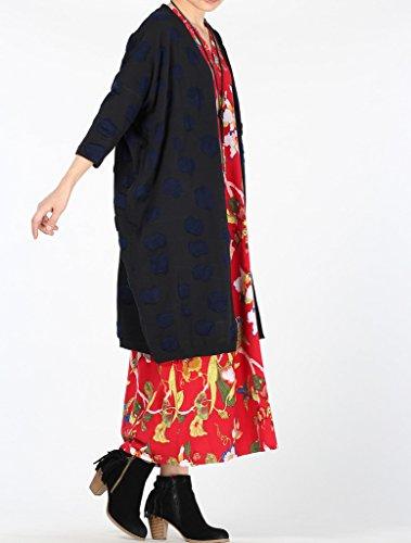 Voguees - Vestido - suéter - manga muerciéago - para mujer Cardigan-Black