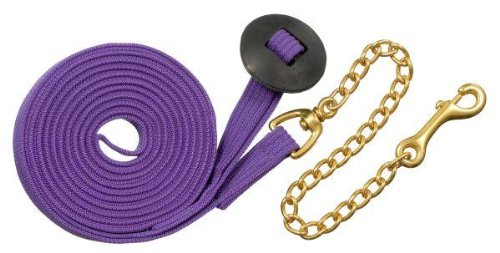 Purple 25' Purple 25' Tough-1 German Cord Cotton Lunge Line w  Heavy Chain