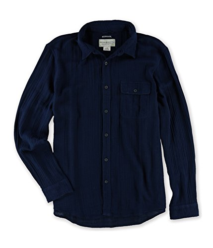 (RALPH LAUREN Denim & Supply Men's Garment-Dyed Cotton Shirt, Midnight Blue (Large))