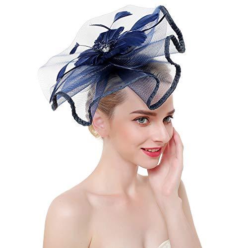 (SMSW Vintage Fascinators Top Hat Women Wedding Cocktail Headband Tea Party Hair Clip Kentucky Derby Headwear Navy Blue)