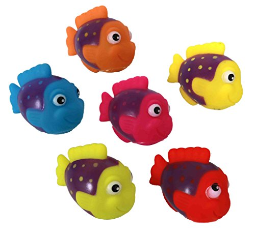 "Colorful 2"" Rubber Tropical Fish Squirt Toys Fun For Babies And Young Kids - 1 Dozen Squirting Bath (Squirt Fish)"
