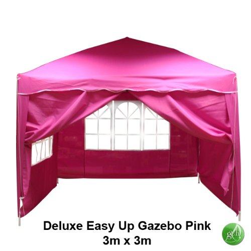 3 X 3m Pink Pop Up Gazebo With 4 Sides