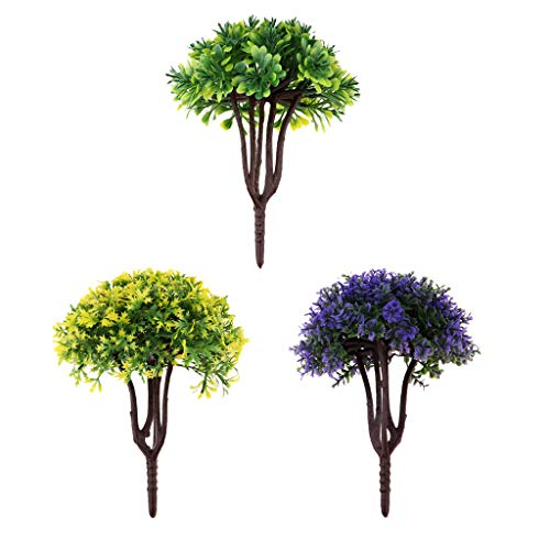 B Blesiya 1/40 Scale 3-Shape Leaf Flower Tree Micro Landscape Railway Moss Bonsai Park Garden Scenery Dioramas