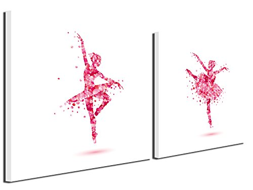 Gardenia Art - Flowers Dancing Ballet Girls Canvas Prints Wall Art Paintings Abstract Women Wall Artworks Pictures for Nursery Living Room Bedroom Decoration, 12x12 inch/piece, 2 Panels - Kid Art Dancing Girl