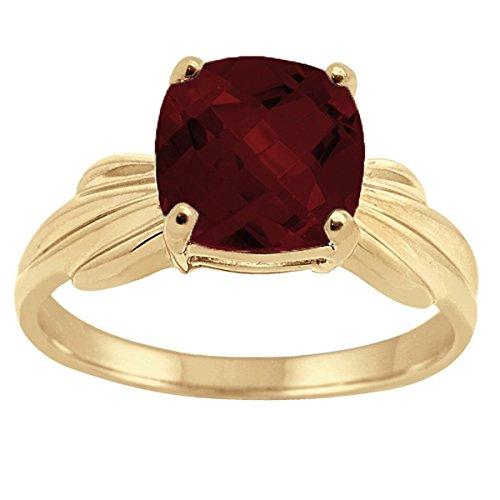 Cushion Cut Garnet Ring (Cushion Cut Garnet Ring in 10K Yellow Gold)