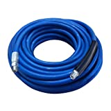 Apache 98388087 3001 PSI 3/8'' x 75' Blue Rubber Pressure Washer Hose Assembly with 3/8'' Male Pipe Thread Fittings