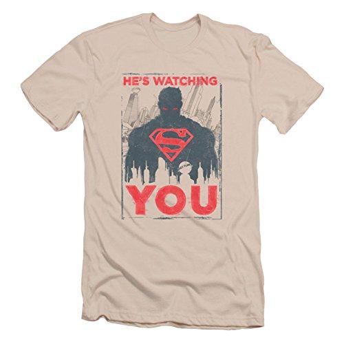 Ptshirt.com-19268-Superman He\'S Watching You Short Sleeve Mens Shirt Slim Fit-B00IQYQ9X4-T Shirt Design