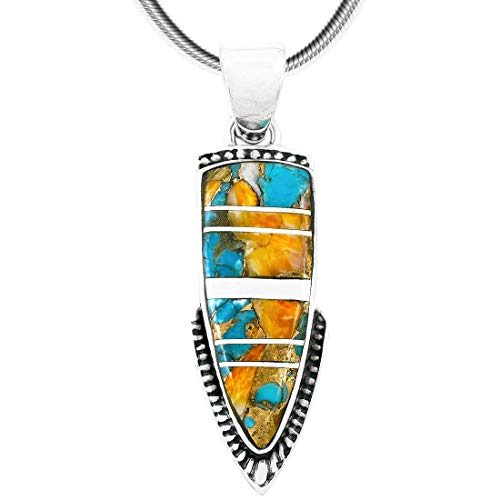 Spiny Turquoise Pendant Necklace in Sterling Silver 925 (Select Style) (Arrowhead)