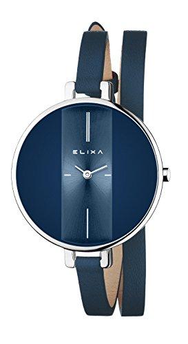 Elixa Finesse Analog Dark Blue Double Wrap Leather Band Women's Watch E069-L234 ()