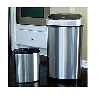 Nine Stars 13.2 Gallon Slim / 2.1 Gallon Trash Can Combo Set, Stainless  Steel/