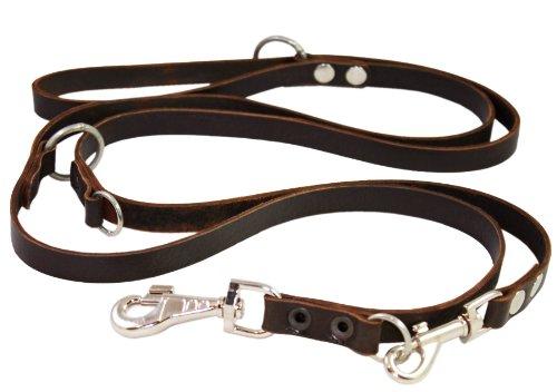 Brown 6 Way European Multifunctional Leather Dog Leash, Adjustable Schutzhund Lead 49″-94″ Long, 3/4″ Wide (18 mm), My Pet Supplies