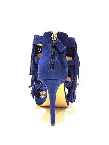Bruno Premi sandalo donna con frange scamosciato con tacco blu elettrico F3304N