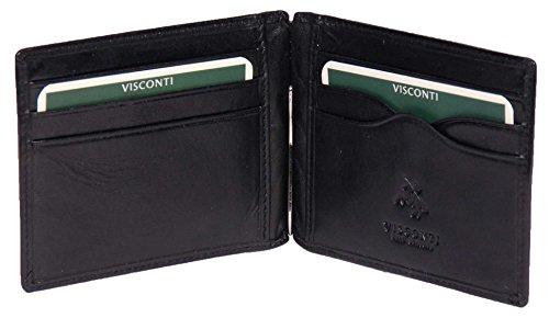 Herren SCHWARZ Leder Brieftasche Schlank Banknoten Geld Klammer Kreditkarten Geschenk Boxed - Dollar