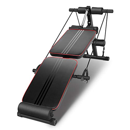 Greensen Adjustable Weight Bench, Sit Up Bench Foldable Ab Workout Bench for Home Gym Utility Bench with Pull Ropes Fitness Equipment Exercises Board, Black