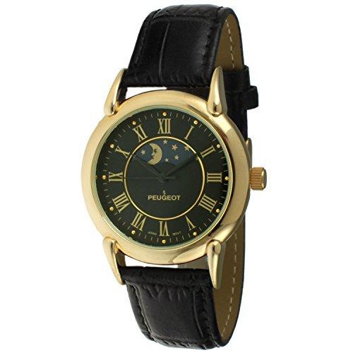 Peugeot Men's '14k Gold Plated' Quartz Metal and Leather Dress Watch, Color:Black (Model: 3032BKA)