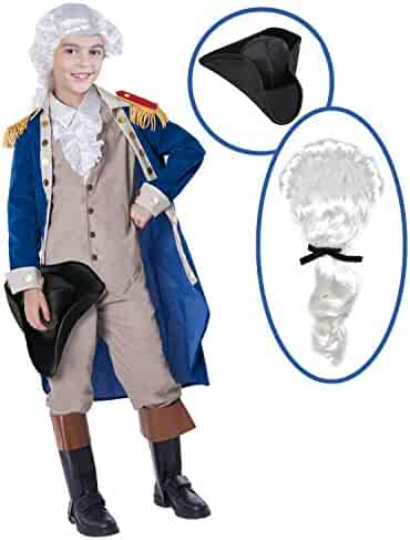 George Washington Colonial Boys Costume Set with Wig and Hat for Halloween Dress Up Party