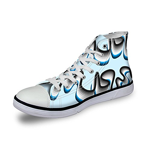 Pour U Conceptions Style Rayé Coloré Femmes Haut Haut Lace Up Toile Fashion Sneaker Bleu
